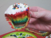 Perfect rainbow cupcakes made with granddaughter Morgan.