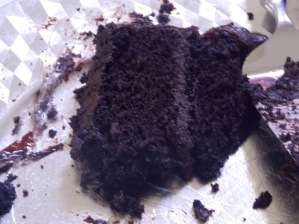 Not a chocolate cake for sissies, frosting and layers almost black with dark chocolate and coffee