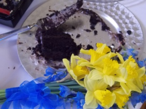 My decadent cake and the bride's bouquet of daffodils and delphiniums (delphinia?)