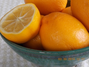 Meyer lemons in a wedding gift bowl.