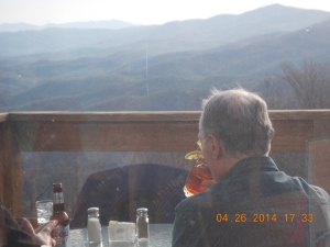 The view from Canyons' small porch. Famed Grandfather Mountain with its mile-high swinging bridge is to the far right.