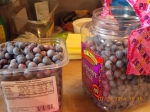 "What 6 cups of blueberries look like. Notice the duct tape ""handle"" on the right-hand ""bucket."""