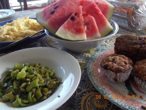 Breakfast from the garden includes the summer's first watermelon, sauteed sweet peppers, zucchini bread and blueberry muffins!