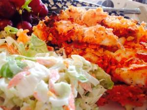 Fish sticks in recipe are OK, but slaw is really good and just keeps getting better in fridge.