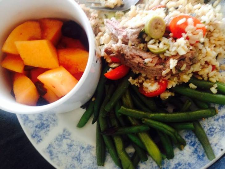 This salad's a good and healthy supper with fresh summer fruit and stir-fried green beans.